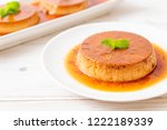 homemade caramel custard...   Shutterstock . vector #1222189339