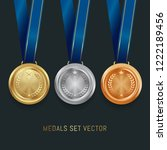 set of gold  silver and bronze... | Shutterstock .eps vector #1222189456