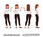 woman office work cartoon... | Shutterstock .eps vector #1222195399