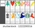 calendar 2019 in flat style... | Shutterstock .eps vector #1222200316