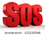 3d sos text isolated over white ... | Shutterstock . vector #122220568