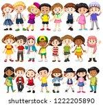 set of children of different...   Shutterstock .eps vector #1222205890