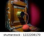 retro wooden camera at studio... | Shutterstock . vector #1222208170