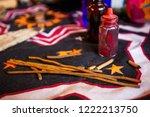 shaman spiritual tools on the... | Shutterstock . vector #1222213750
