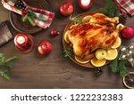 roasted christmas chicken or... | Shutterstock . vector #1222232383