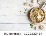 mushroom spaghetti pasta and... | Shutterstock . vector #1222232419