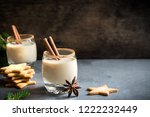 eggnog with cinnamon and nutmeg ... | Shutterstock . vector #1222232449