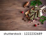 chocolate brownies in shape of... | Shutterstock . vector #1222232689