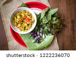 cooking of thai food in white...   Shutterstock . vector #1222236070