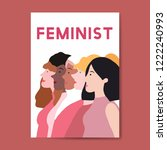 female feminists standing... | Shutterstock .eps vector #1222240993