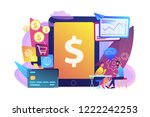 tablet  bank card and manager... | Shutterstock .eps vector #1222242253