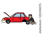 cartoon man changing car tire | Shutterstock .eps vector #1222246576