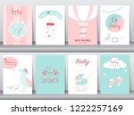 set of baby shower invitations... | Shutterstock .eps vector #1222257169
