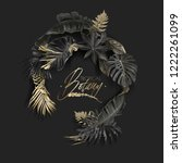 vector wreath with black and... | Shutterstock .eps vector #1222261099