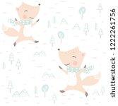 fox baby winter seamless...   Shutterstock .eps vector #1222261756