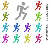 running man icon in multi color....