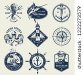 vintage monochrome nautical... | Shutterstock .eps vector #1222273579
