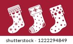 christmas boots. set of... | Shutterstock .eps vector #1222294849