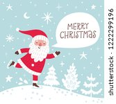 vector christmas card witn cute ... | Shutterstock .eps vector #1222299196