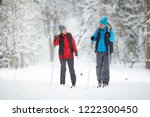 active senior couple on skis... | Shutterstock . vector #1222300450