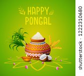 happy pongal greeting card on...   Shutterstock .eps vector #1222310680