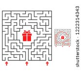 abstract square maze. find the... | Shutterstock .eps vector #1222314343