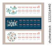 calendar 2019. vector... | Shutterstock .eps vector #1222316440