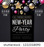 happy new year party poster... | Shutterstock .eps vector #1222318090