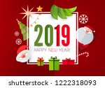 happy new 2019 year  cute paper ... | Shutterstock .eps vector #1222318093
