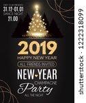 happy hew 2019 year  gold... | Shutterstock .eps vector #1222318099