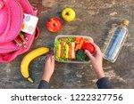 sandwiches  fruits and... | Shutterstock . vector #1222327756