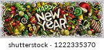 new year hand drawn doodles...   Shutterstock .eps vector #1222335370