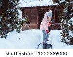 kid girl helping to clean...   Shutterstock . vector #1222339000