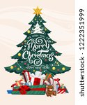 christmas tree with gifts. ... | Shutterstock .eps vector #1222351999