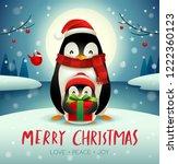 adult penguin and baby penguin... | Shutterstock .eps vector #1222360123