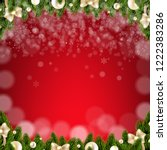 christmas card with snow with... | Shutterstock .eps vector #1222383286