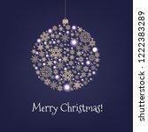 xmas card with christmas ball... | Shutterstock .eps vector #1222383289