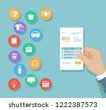 bill in man hand. set of... | Shutterstock .eps vector #1222387573