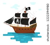 cartoon pirate ship with black... | Shutterstock .eps vector #1222394980