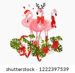 flamingo pink tropic merry... | Shutterstock .eps vector #1222397539