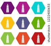 sea beacon icons 9 set coloful... | Shutterstock .eps vector #1222400653