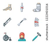 handicapped icons set. cartoon... | Shutterstock .eps vector #1222401016