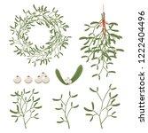 christmas mistletoe with berry  ...   Shutterstock .eps vector #1222404496