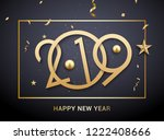luxury christmas golden 2019... | Shutterstock .eps vector #1222408666