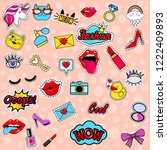 fashion patch badges with lips  ... | Shutterstock .eps vector #1222409893