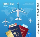 travel time concept with... | Shutterstock . vector #1222411600