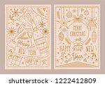 set of christmas and new year... | Shutterstock .eps vector #1222412809