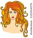 stylish fashionable girl with...   Shutterstock . vector #1222414576