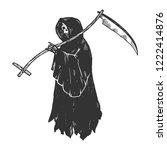 grim reaper death metaphor...   Shutterstock .eps vector #1222414876