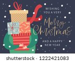 merry christmas and happy new... | Shutterstock .eps vector #1222421083